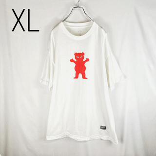 GRIZZLY  白Tシャツ X L  キャラプリント 綿 ビッグサイズ