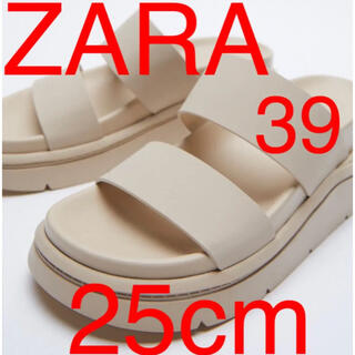 ZARA - ZARA ラバーフィニッシュ フラットスポーティサンダル
