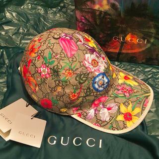 Gucci - 新品未使用 GUCCI GG柄 花柄 レザー スナップバックキャップ 箱付き
