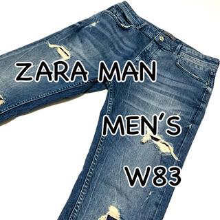 ZARA - ZARA MAN ザラ ダメージ リペア加工 USA32 カットオフ ストレッチ
