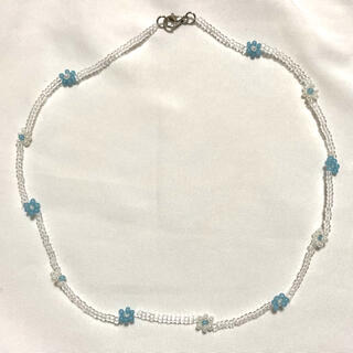 dholic - New!ビーズネックレス ハンドメイド blue×white×clear