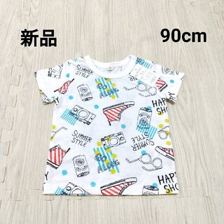 【新品】半袖Tシャツ 90cm 子供服 キッズ ベビー 男の子 総柄 保育園