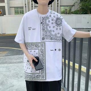 韓国ファッション ペイズリー柄 オーバーサイズ ビッグ  Tシャツ 夏 半袖 ホ