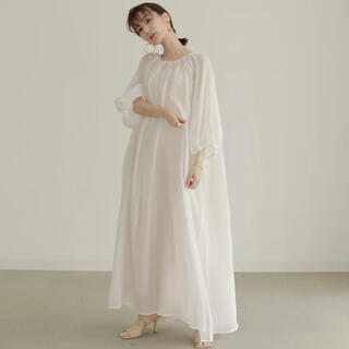 TODAYFUL - Louren chiffon gather flare dress  white