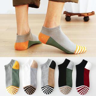 2021夏新作 まとめ売り5足組 カラフル靴下 メンズ オシャレ 紳士用 韓国黒