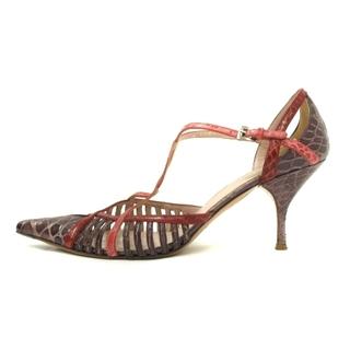 プラダ(PRADA)のプラダ サンダル パンプス ヒール レザー クロコ型押し 紫 37 靴(サンダル)
