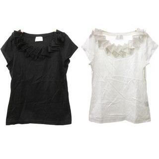 ハロッズ(Harrods)のHarrods フリルカットソー 2着セット F 黒 ブラック 白 ホワイト(Tシャツ(半袖/袖なし))