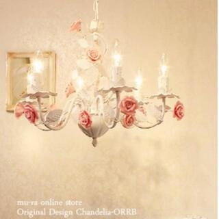 【Eglantine 】6灯 シャンデリア ホワイト アンティーク 照明 バラ(天井照明)
