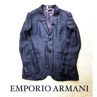Emporio Armani - 美品 EMPORIO ARMANI アルマーニ デニム風 麻 ジャケット 濃紺