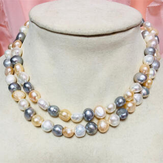 817g大粒♪珍しい天然淡水真珠/バロックパールロングネックレス(77cm)