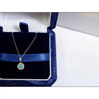 AHKAH - K18 AHKAH ターコイズ ダイヤモンド ラウンドディア2015 ネックレス