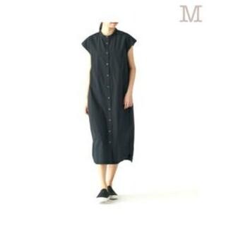 MUJI (無印良品) - 【新品】  無印良品 綿混ストレッチフレンチスリーブワンピース/ 黒/M