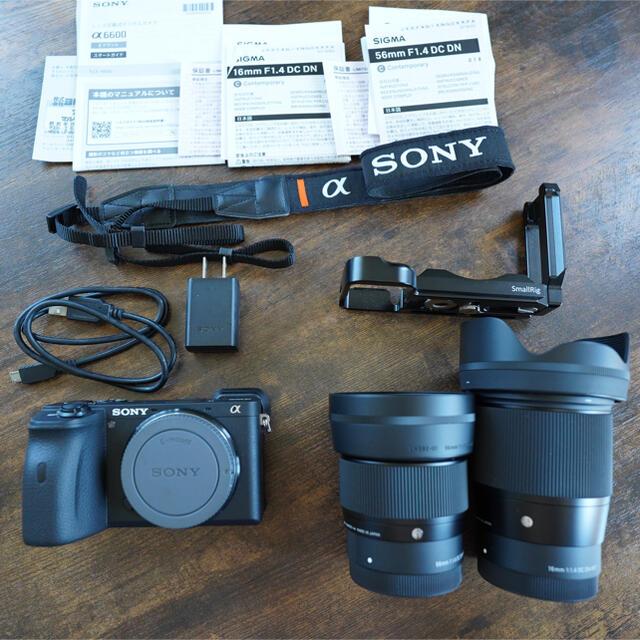 SONY(ソニー)のソニーα6600、sigma16mmF1.4,sigma56mmF1.4、セット スマホ/家電/カメラのカメラ(ミラーレス一眼)の商品写真