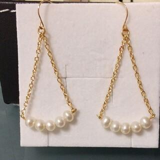淡水真珠 淡水パール アメリカンフックピアス K18YGイエローゴールド