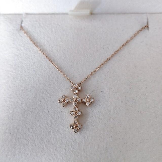 Vendome Aoyama(ヴァンドームアオヤマ)のヴァンドーム青山 ダイヤモンド クロス ネックレス K18PG 2.0g レディースのアクセサリー(ネックレス)の商品写真