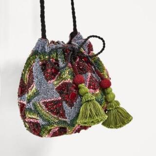 ZARA - ザラ スイカ ビーズ刺繍バッグ