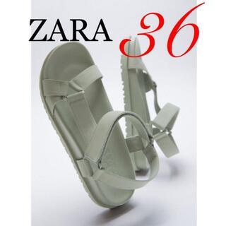 ZARA - 1 ZARA ザラ 新品 ラバーフィニッシュ フラットサンダル 36