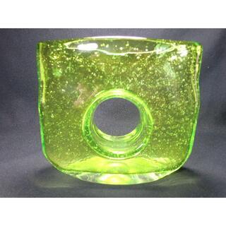 昭和レトロ/吹きガラス/ハンドメード/ガラス泡入り花瓶/色付き