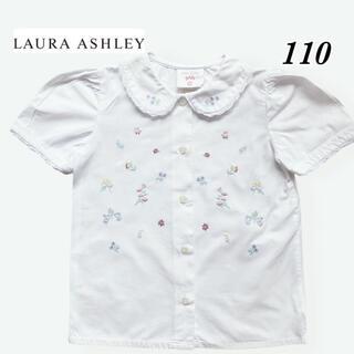 ローラアシュレイ(LAURA ASHLEY)の【ローラアシュレイ】 お花 刺繍 ブラウス シャツ パフスリーブ 綿100%(ブラウス)
