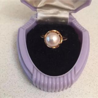 K18 大粒真珠の捻り梅リング