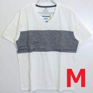 新品 メンズ 半袖Tシャツ Vネック ホワイト M 8385