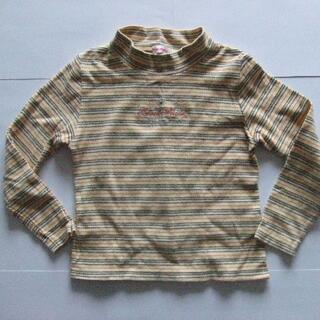 130 冬物 長袖 Tシャツ 黄色 ボーダー 女の子