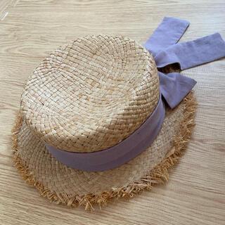 プティマイン(petit main)のpetitmain 麦わら帽子 52cm(帽子)
