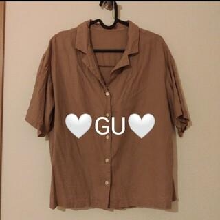 GU - GU リネンブレンドオープンカラーシャツ(5分袖)