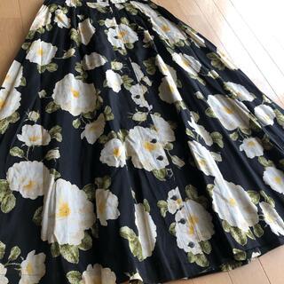 PINK HOUSE - インゲボルグ 綿ローン 大振りな 花柄 薔薇 スカート