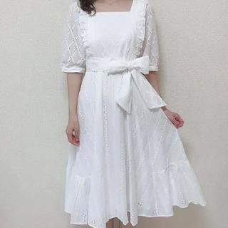 evelyn - アンミール コットンレースボリュームワンピース ホワイト