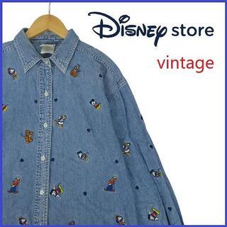 Disney - ヴィンテージ ディズニーストア Disney Store 刺繍 デニムシャツ