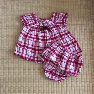 ニシマツヤ(西松屋)の西松屋*チェック柄ベビー服 上下セット 80cm(シャツ/カットソー)