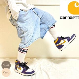 carhartt - USA製 80s 革タグ カーハート ハーフパンツ バギーショーツ アイスブルー