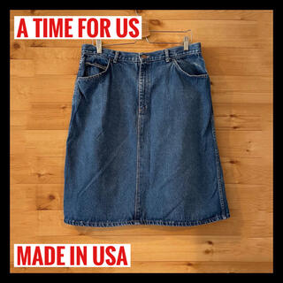 【A TIME FOR US】USA製 ひざ丈 デニム スカート アメリカ古着(ひざ丈スカート)