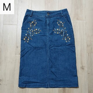 インデックス(INDEX)の花柄 デニムスカート(ひざ丈スカート)