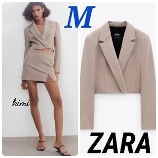ザラ(ZARA)のZARA (M エクリュ) クロップド丈ブレザー クロップド丈ジャケット (テーラードジャケット)