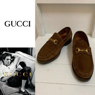 グッチ(Gucci)のGUCCI VINTAGE ITALY製 ホースビットスエードレザーローファー(ローファー/革靴)