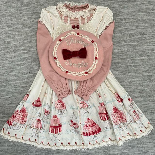 Shirley Temple(シャーリーテンプル)のケーキptワンピース&ケーキベレー&ハイネックレースプルオーバー3点set キッズ/ベビー/マタニティのキッズ服女の子用(90cm~)(ワンピース)の商品写真