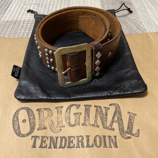 テンダーロイン(TENDERLOIN)の絶版! TENDERLOIN HTC PORTER スタッズ ベルト 茶 銀 S(ベルト)