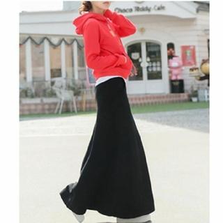 antiqua - スウェット ロングスカート マキシスカート ブラック Aライン