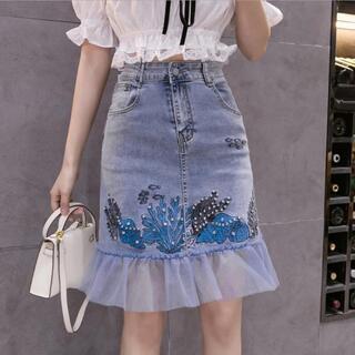 大きいサイズ レディース 春夏 刺繍 デニムスカート(ミニスカート)