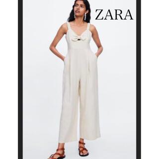 ザラ(ZARA)の【未使用タグ付き】ZARA リネン混ストラップジャンプスーツ(サロペット/オーバーオール)