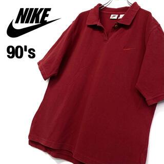 ナイキ(NIKE)の美品 90's古着 NIKE 刺繍ロゴ ポロシャツ メンズL ボルドー(ポロシャツ)