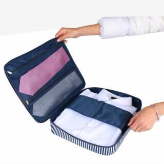収納ケース バッグ 旅行 出張 ワイシャツ ネクタイ ケース ブルー 小物入れ(旅行用品)