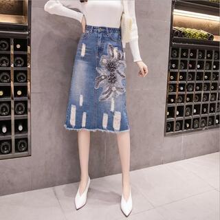 大きいサイズ レディース デニムスカート ダメージ 刺繍(ひざ丈スカート)