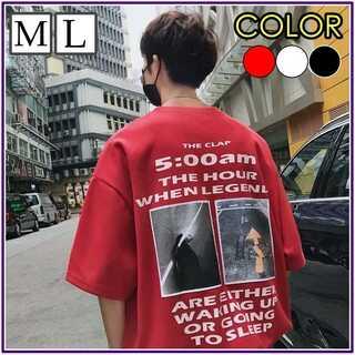 韓国ストリート オーバシルエット バックプリント Tシャツ メンズ レディース