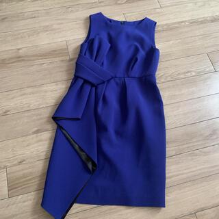 GRACE CONTINENTAL - ドレス リボン ネイビー 膝丈ワンピース
