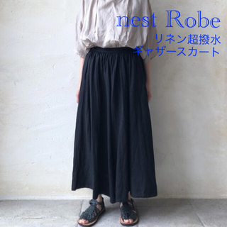 nest Robe - ネストローブ nest robe  リネン超撥水ギャザースカート 黒