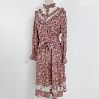axes femme - 新品 タグ付き フリル花柄ロングワンピ Mサイズ 淡ピンク レース ボタン