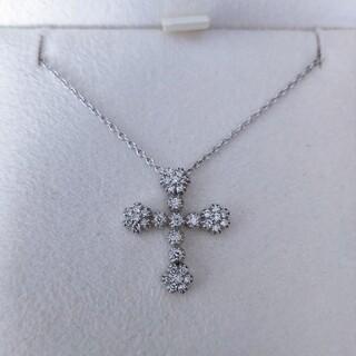スタージュエリー(STAR JEWELRY)のスタージュエリー ダイヤモンド クロス ネックレス K18WG 0.24ct(ネックレス)